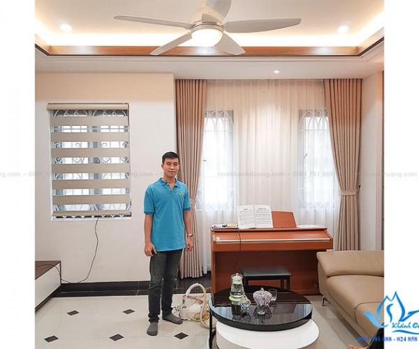 Rèm vải Hàn Quốc cho phòng khách sang trọng tại quận Long Biên DOICE07