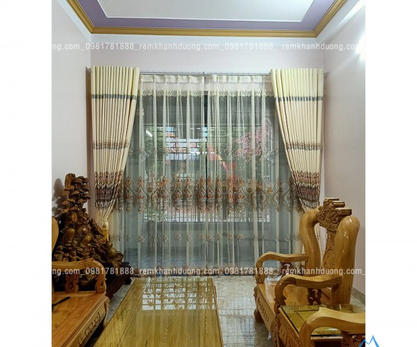 Rèm vải họa tiết cao cấp chống nắng tốt tại Láng Hạ, Hà Nội TM80