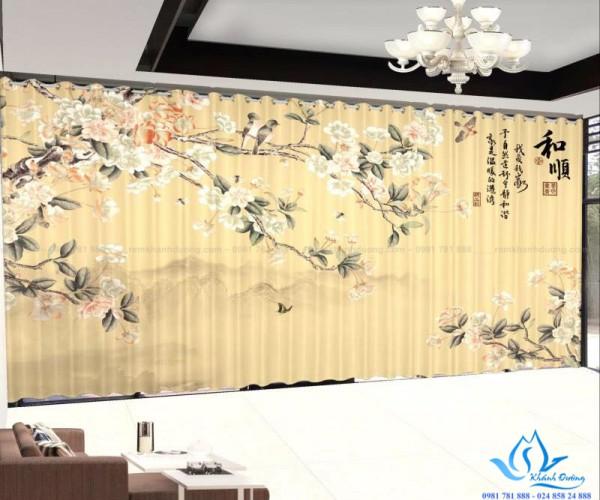 Rèm vải in tranh 3D hoạ tiết độc đáo tại Lê Văn Lương, Hà Nội RT26