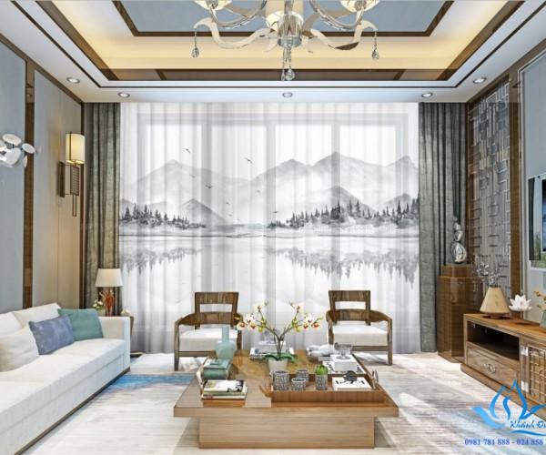Rèm vải in tranh 3D sang trọng, cổ điển tại Tôn Đức Thắng, Hà Nội RT21