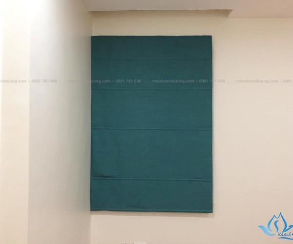 Rèm vải roman 2 lớp màu xanh đẹp ở chung cư bộ công an RM 29