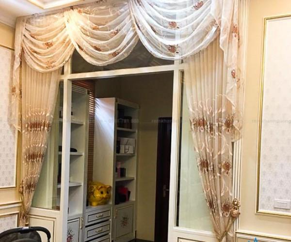 Rèm voan cổ điển thêu họa tiết dành cho phòng khách quận Đống Đa BJ601