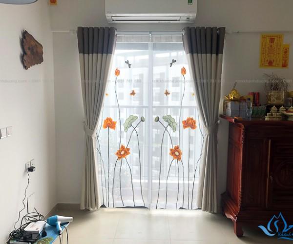 Rèm voan thêu tay đẹp cho phòng thờ tại Sky2 Aquabay, Hưng Yên P2912