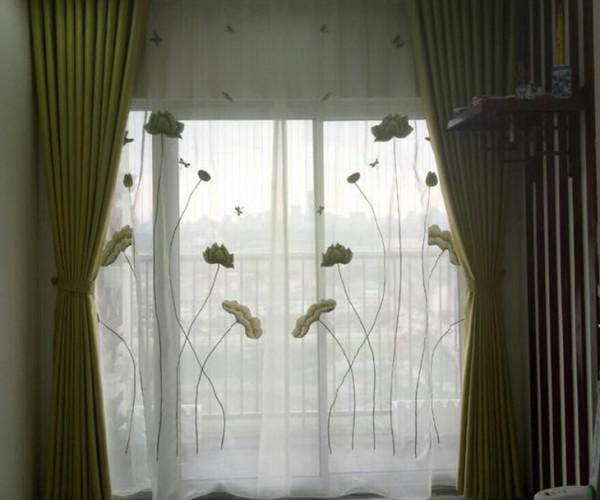Rèm voan thêu tay hoa sen màu xanh giá rẻ tại Hà Nội
