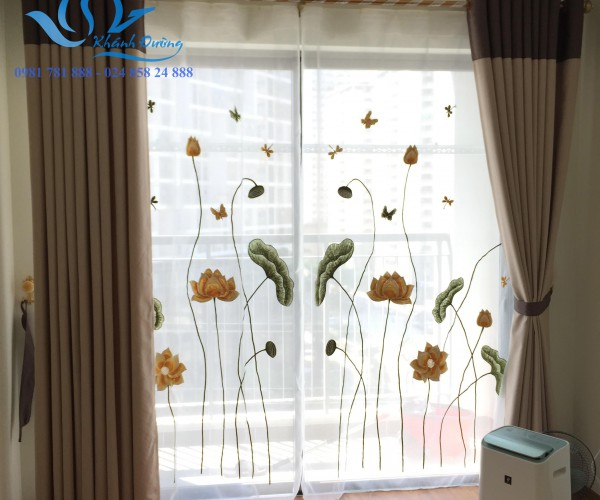 Rèm voan hoa sen chuồn chuồn đẹp cho phòng ngủ tại Quận Ba Đình